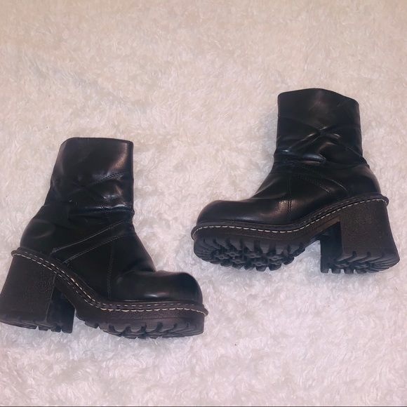 Black Chunky Faux Leather Boots